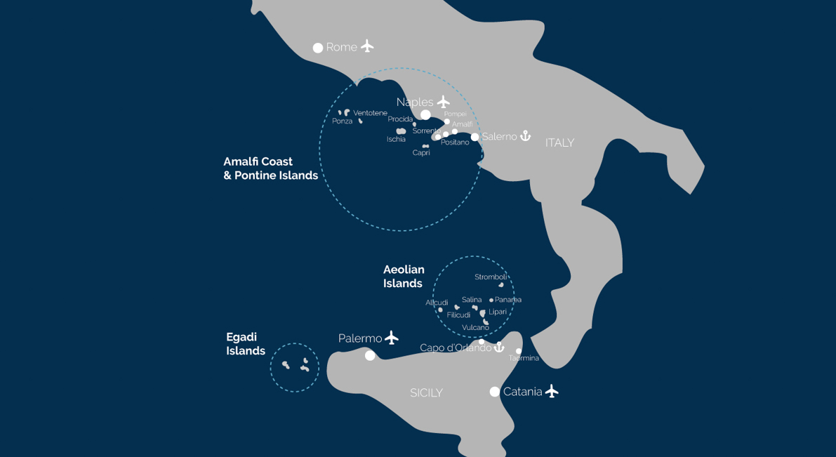 map of our different destinations, ports and airports nearby